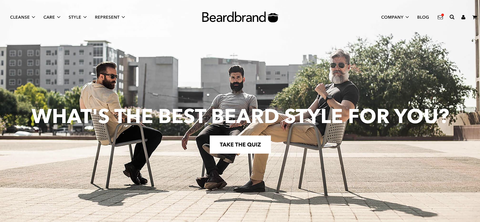 beardbrand homepage cta for visitors to take quiz