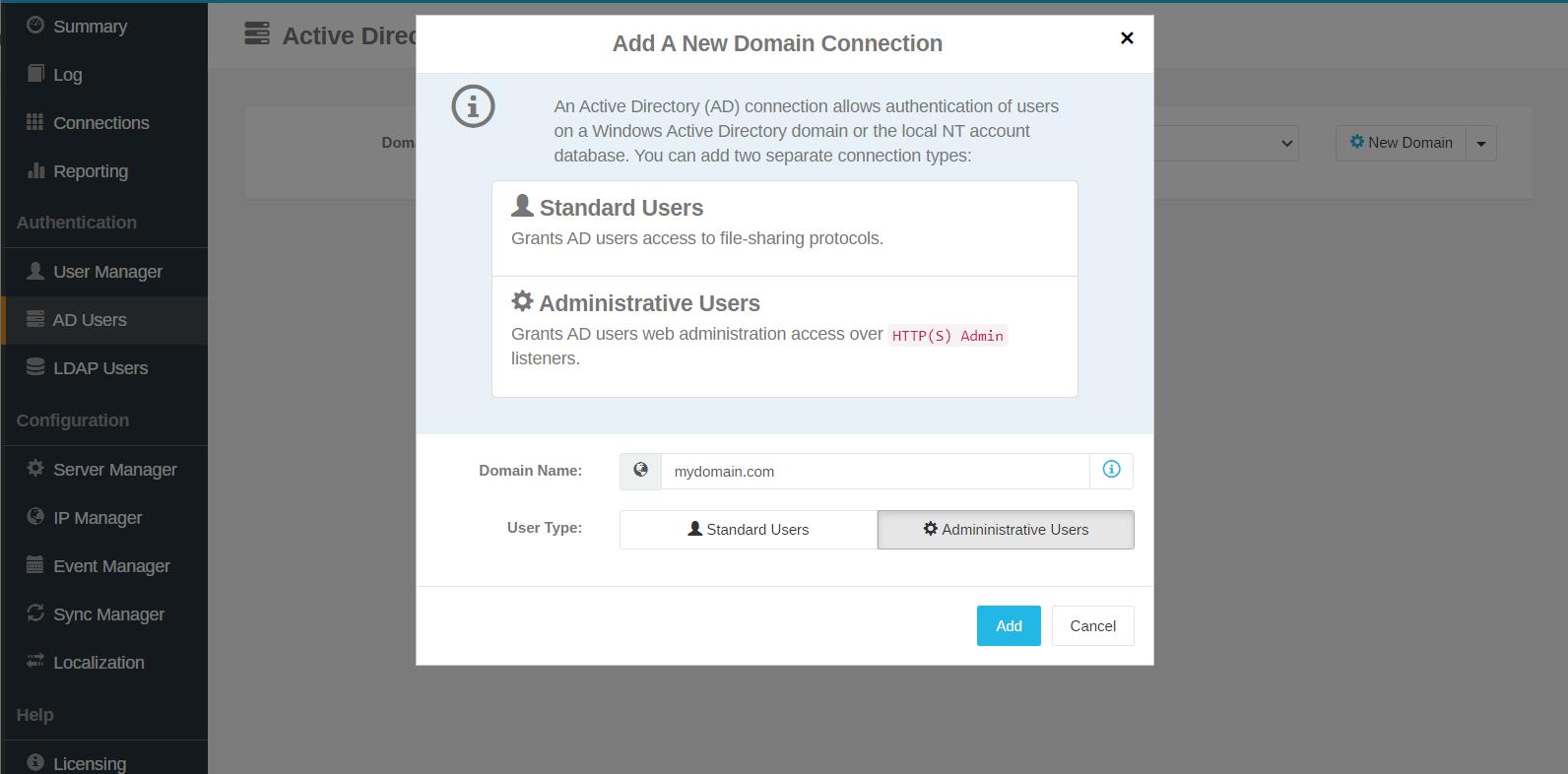 Choose between Cerberus Ftp Server's Standard or Administrative Users
