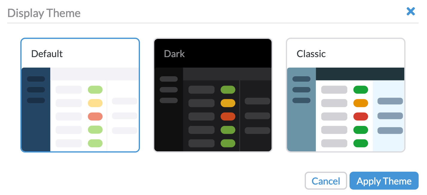 Here's a look at the three budget theme options: default, dark, and classic
