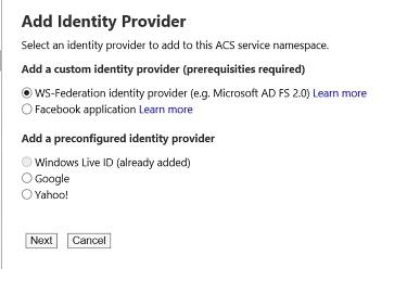 Add Identity Provider settings
