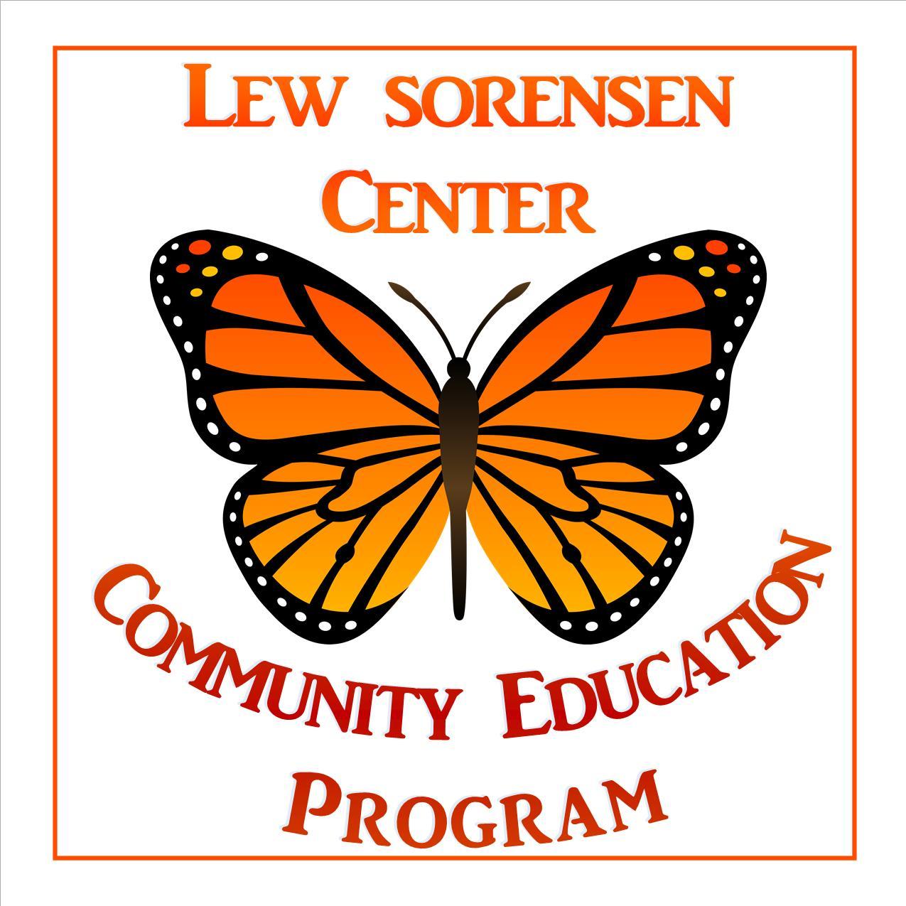 lew sorensen community education logo, butterfly