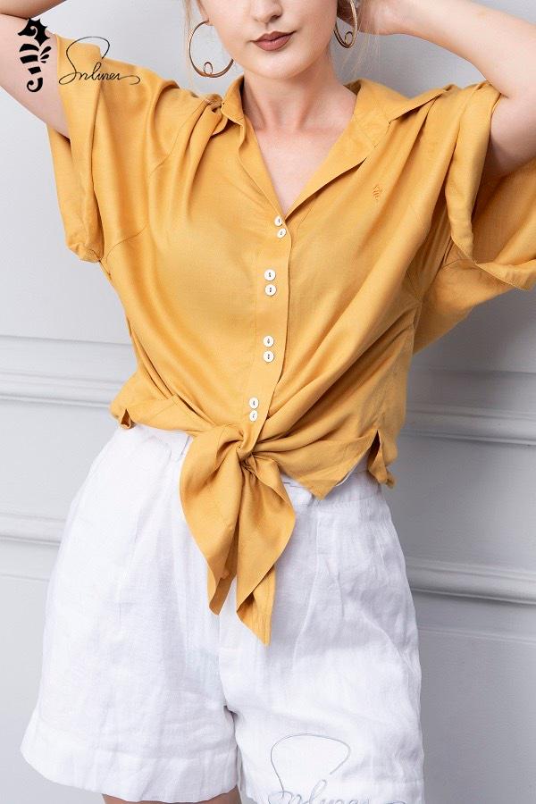 quần short nữ vải linen