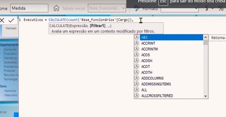 Determinando qual será o filtro da função Calculate no Power BI