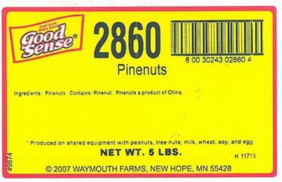 Label, Good Sense Pinenuts, NET WT. 5LBS bulk