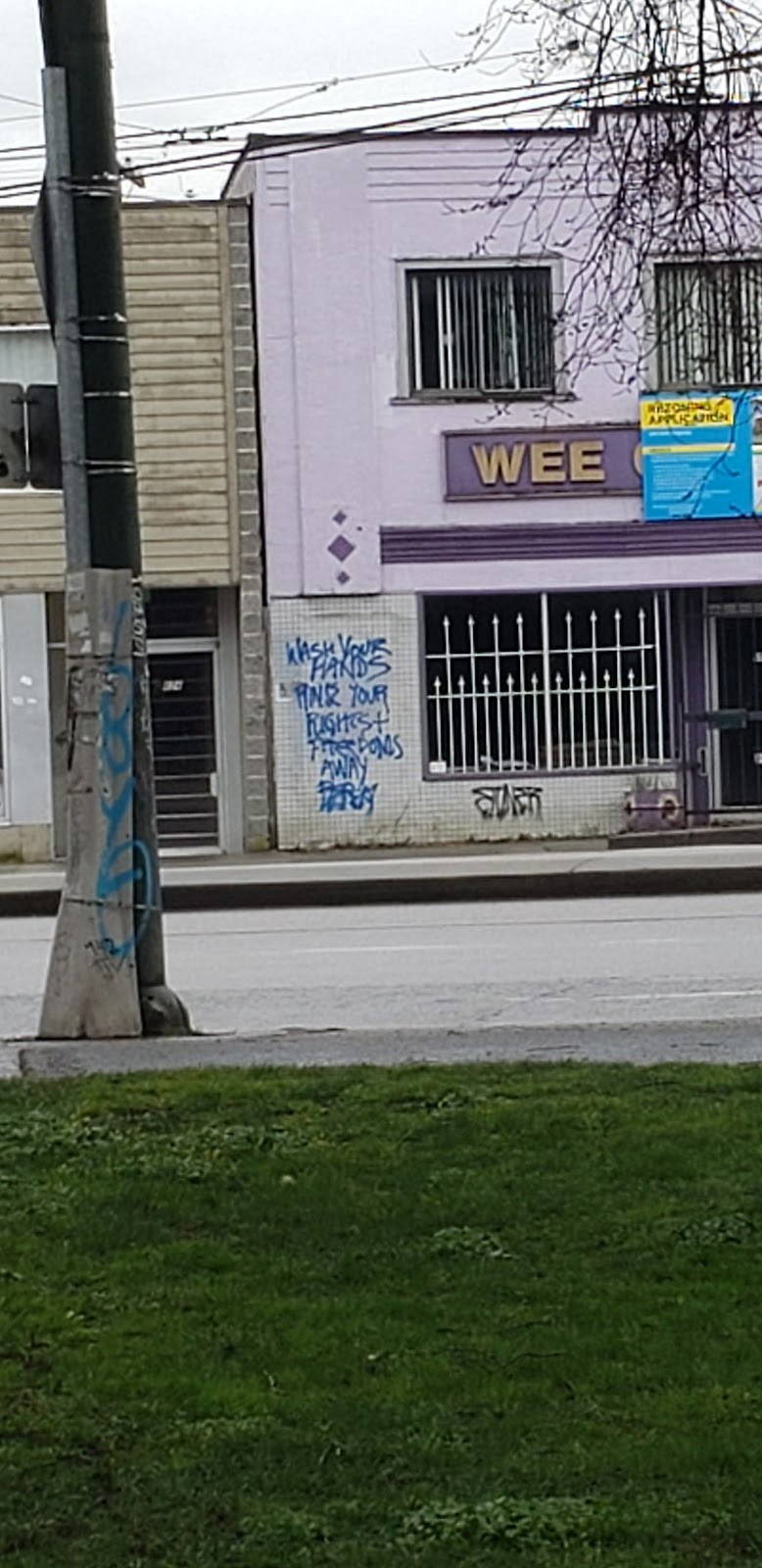 """Graffiti that says """"Wash your hands and your rights and freedoms away"""""""
