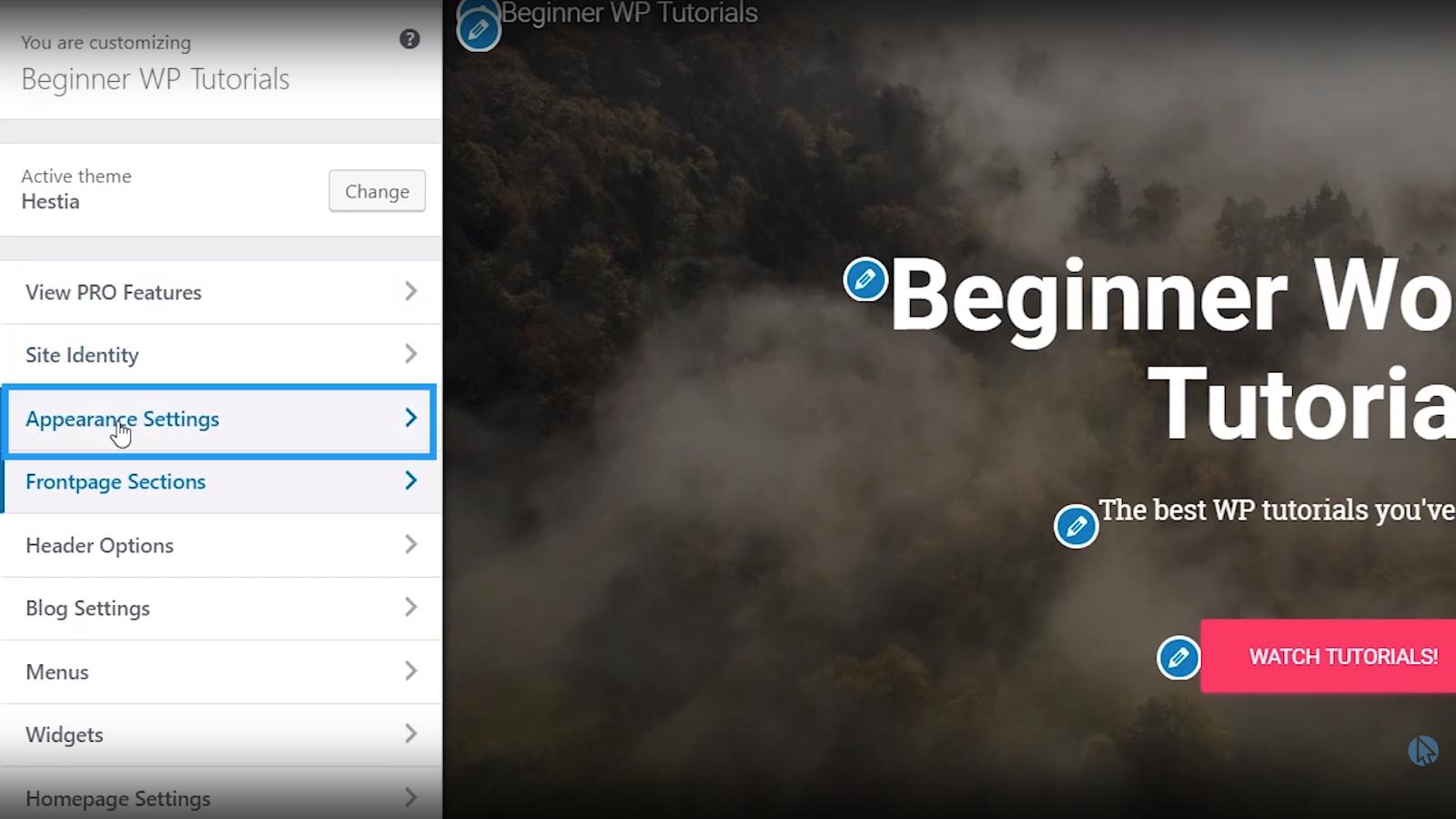 appearance settings wordpress tutorial for beginners