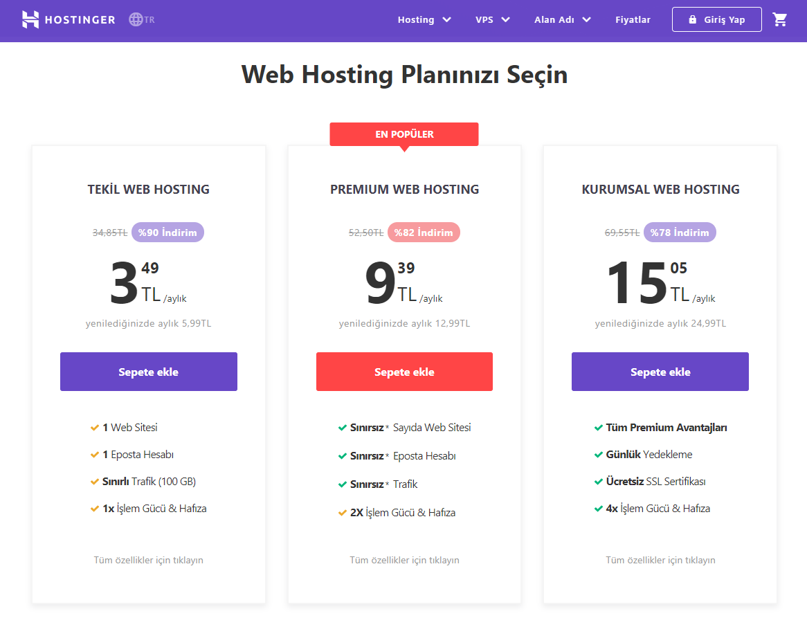 Hostinger geniş kapsamlı hosting planları sunmaktadır