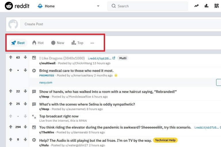 Reddit front page screenshot
