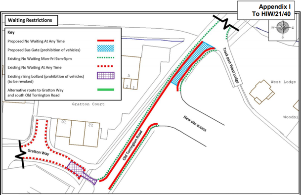 The proposed changes to the Restrictions in Old Torrington Road in Barnstaple