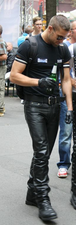 man in leather pants