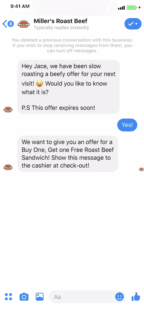 Miller's Roast Beef Sponsored Message Ad