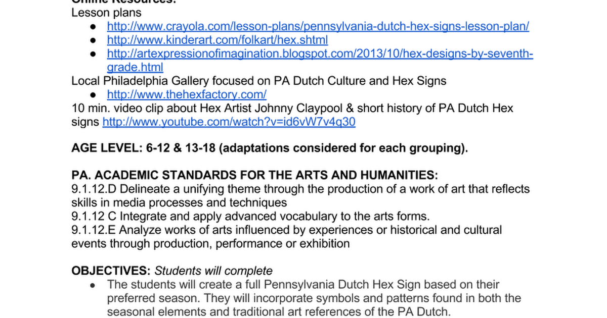 pa dutch hex lesson plan google docs