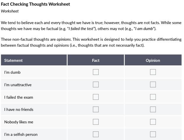 fact check beliefs worksheet