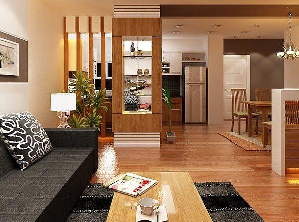 Sử dụng vách ngăn phòng khách giúp tận dụng tối đa diện tích sử dụng