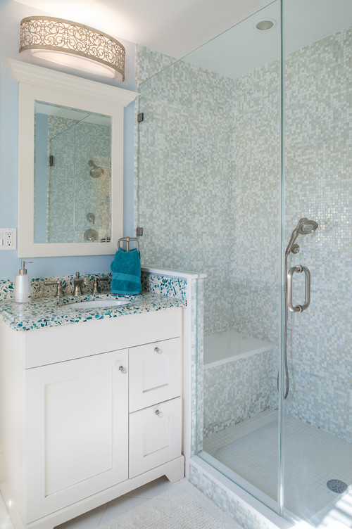 Floating Blue Vetrazzo Glass Bathroom Countertop