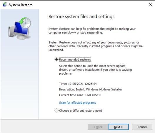 System Restore initiation dialog box