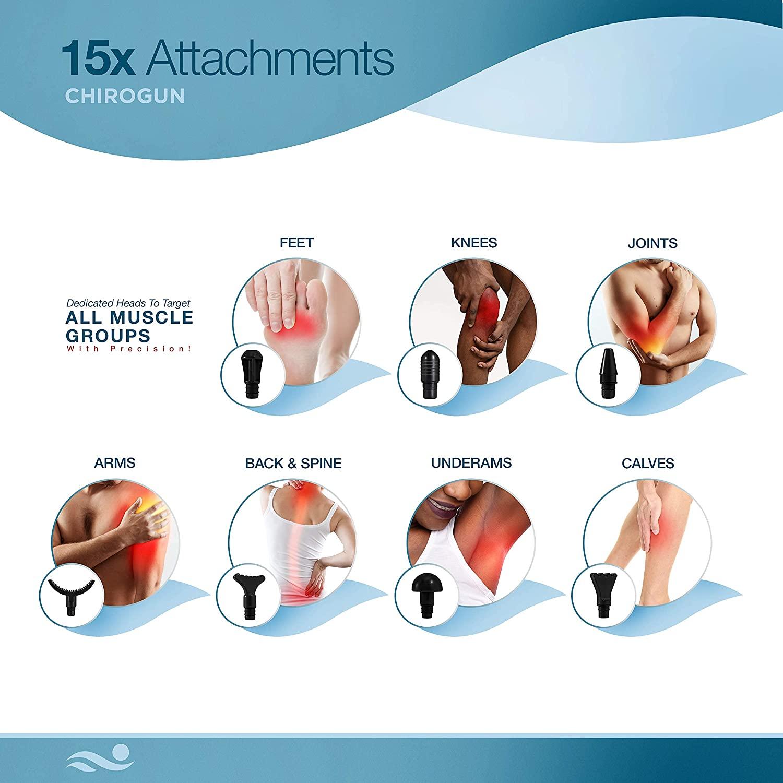 attachment heads that you get with Chirogun massage gun