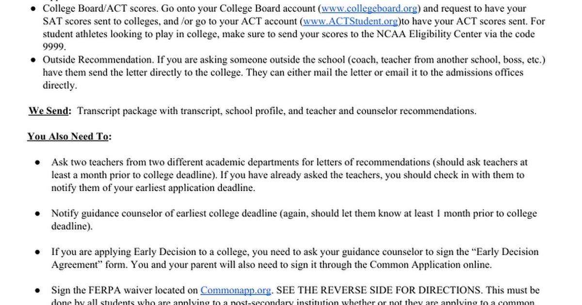 Collegeapplicationprocess Google Docs
