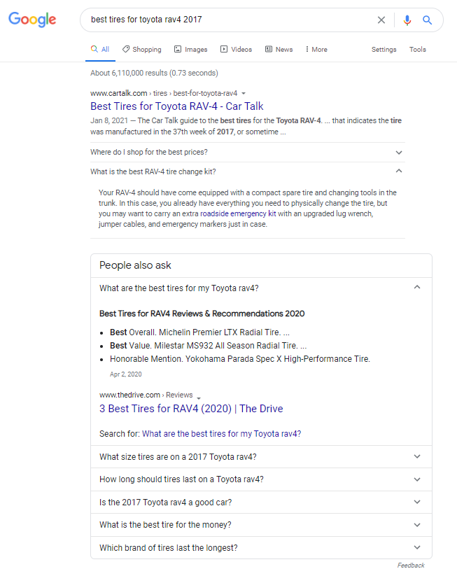 """screenshot of the search engine results page for """"best tires for toyota rav4 2017"""""""