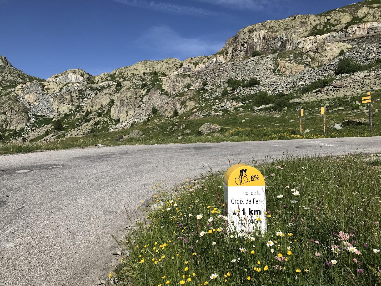 Bicycle ride of Col de la Croix de Fer, Saint-Jean-de-Maurienne - km 1 marker and road