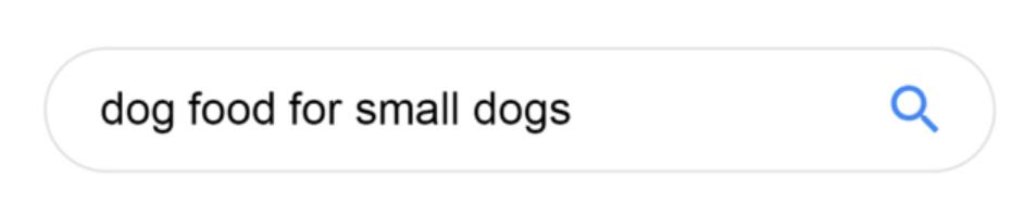 Корм для маленьких собак, поиск в Google