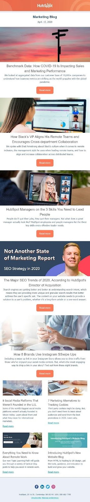 HubSpot newsletter example