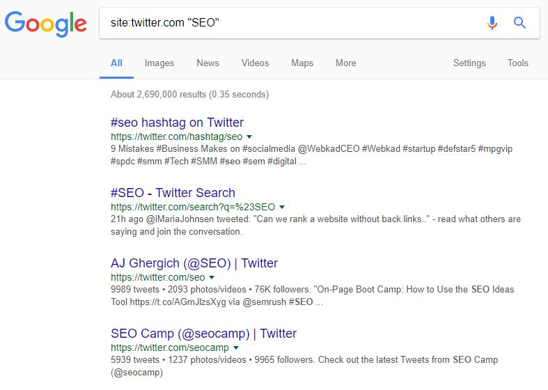 Tìm kiếm trên Twitter với các nhà khai thác của Google