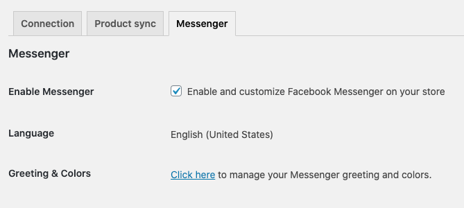 The Facebook Messenger settings in WooCommerce.