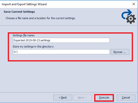 Setting the Export File Path