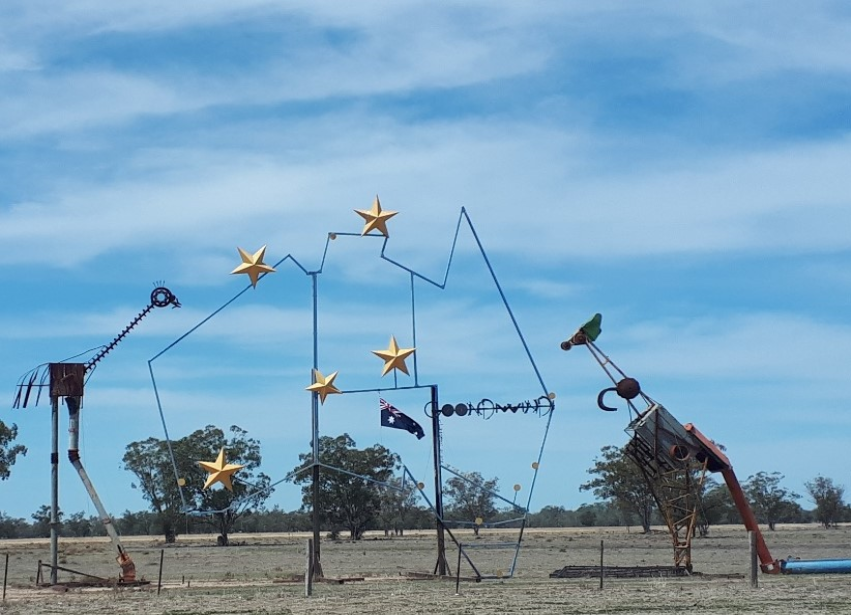 the big map of australia is a map made out of metal junk