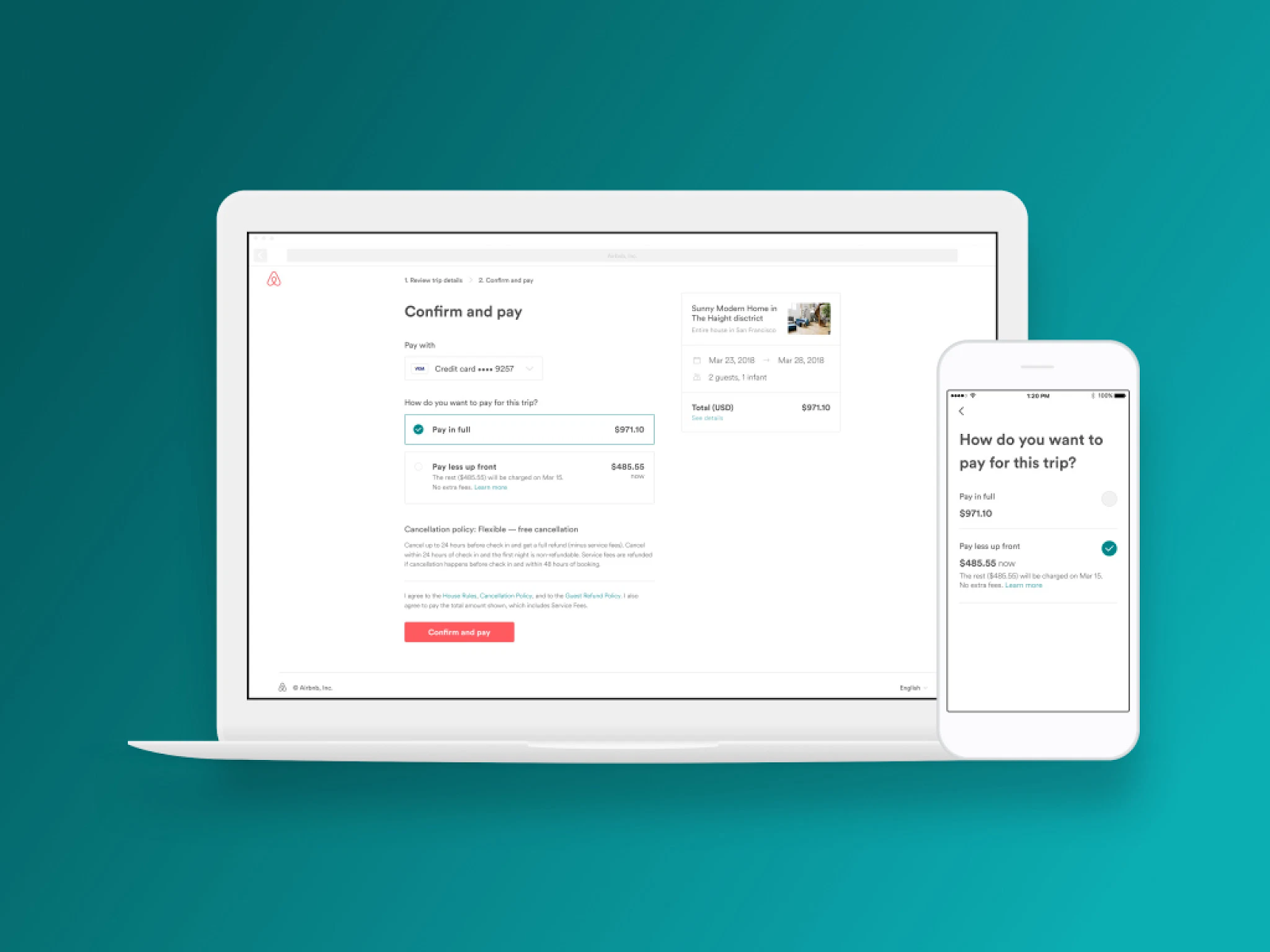 Airbnb's style guidelines for their payment flow are consistent on web and mobile.