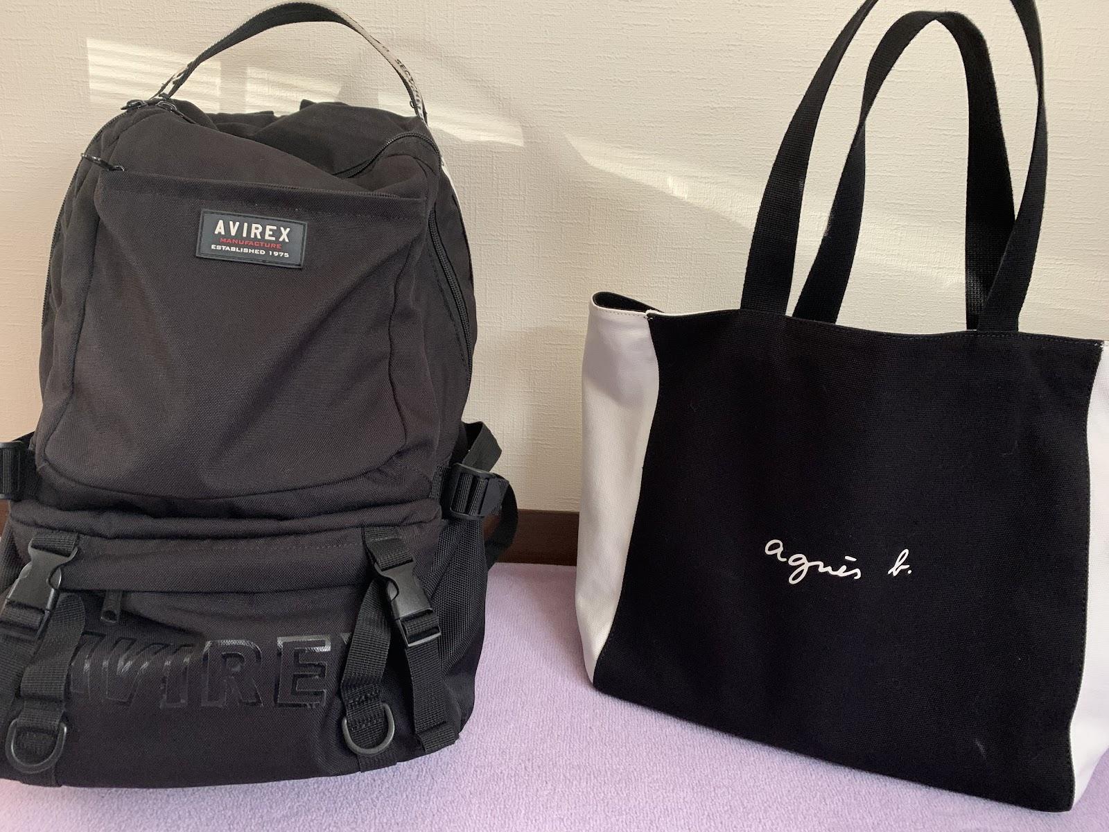 黒いリュックとアニエスベーのトートバッグの比較