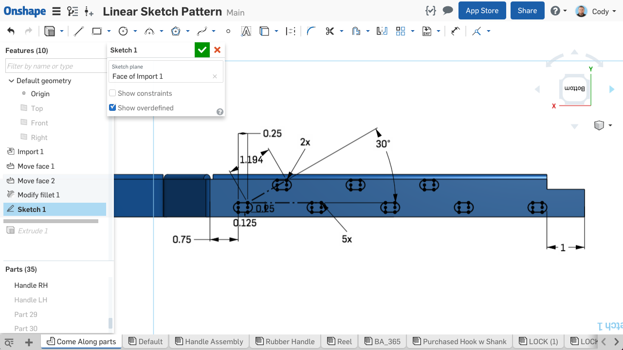 Screenshot of using Linear Sketch Patterns in Onshape.