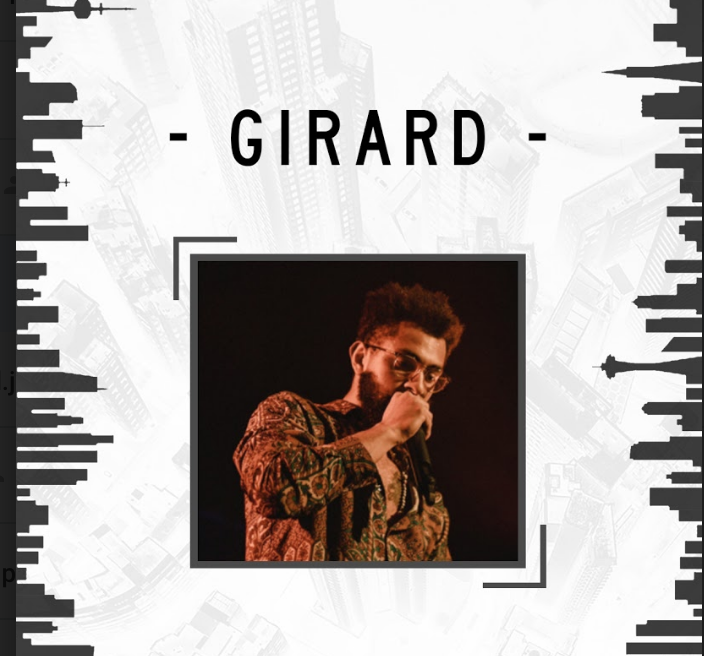 Image of artist Girard performing with a microphone superimposed over two black and white images of the Vancouver skyline