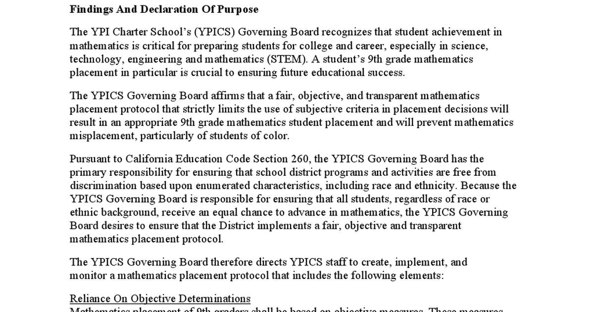 9th Grade Mathematics Placement Board Policydocx Google Drive