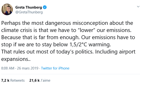 tweet de Greta Thunberg
