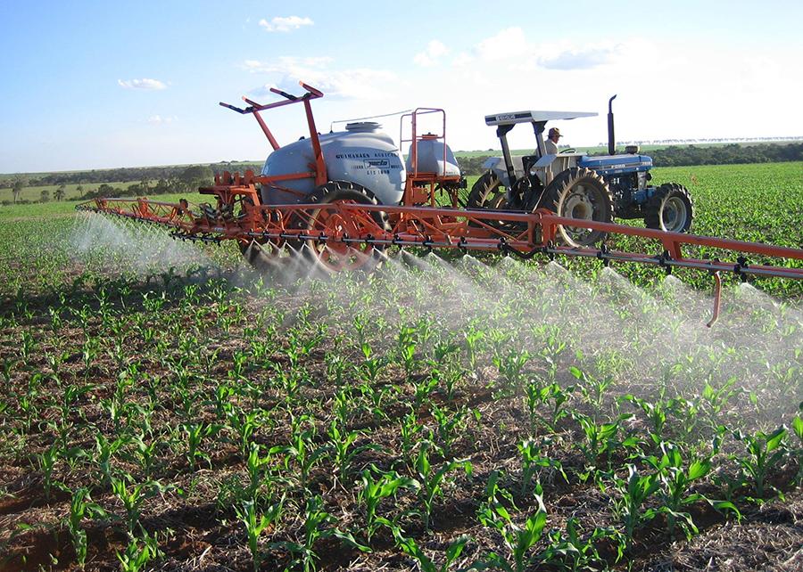 Pulverização de pesticida na lavoura.