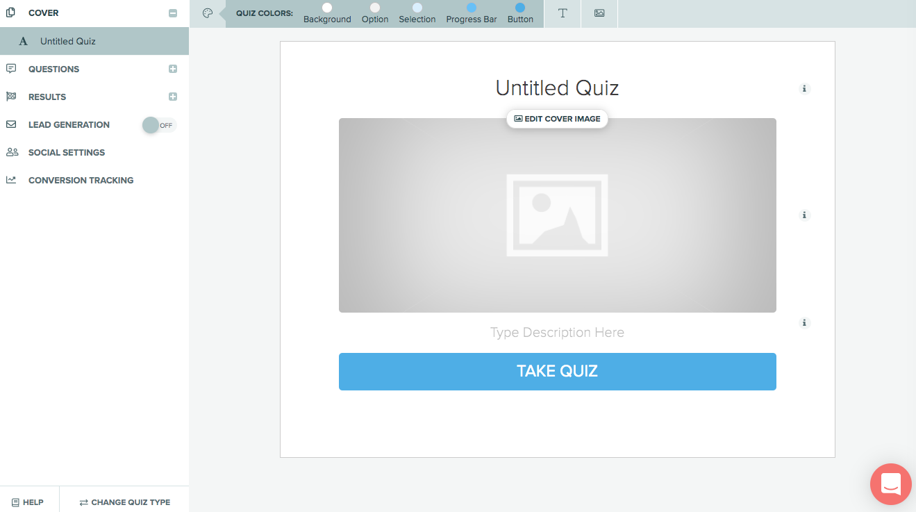 empty quiz cover when starting from scratch