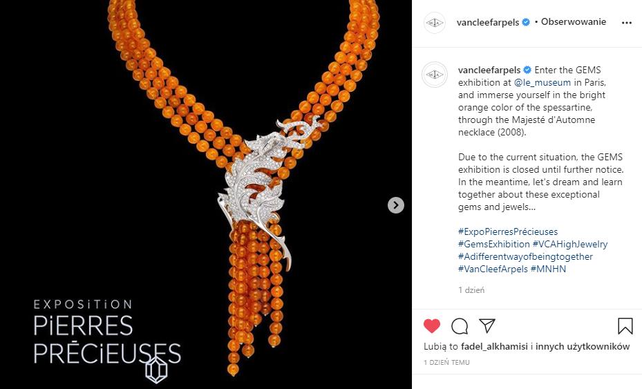 Marketing w branży jubilerskiej - screen posta Van Cleef & Arpels