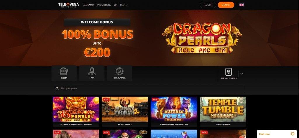 TeleVega Casino Home Page