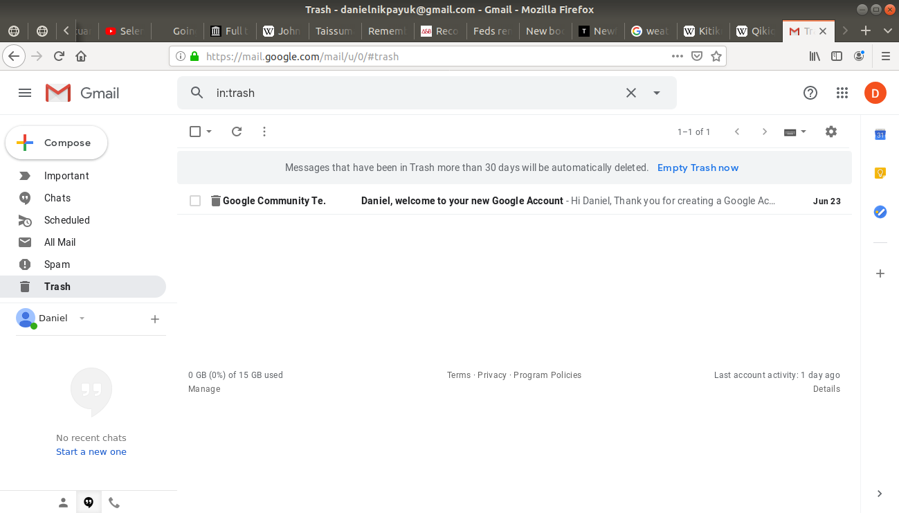 Trash folder highlighted in Gmail