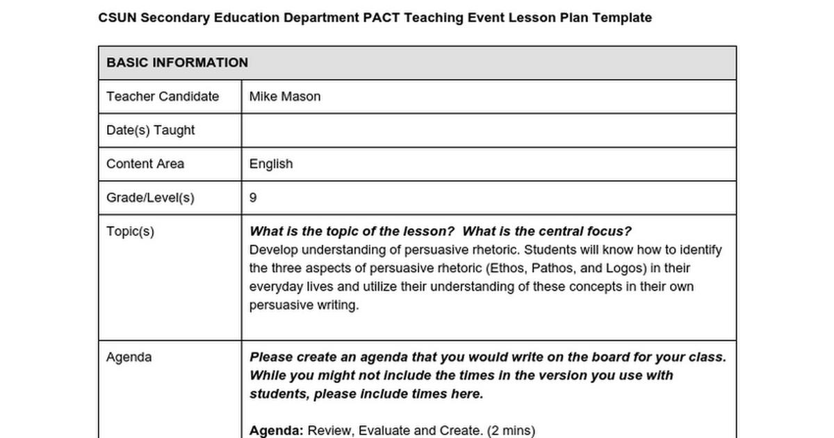 Ethos Pathos Logos 10 Min Lesson Plan Google Docs