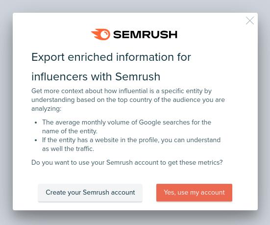 Audiense blog - ventana emergente de Semrush