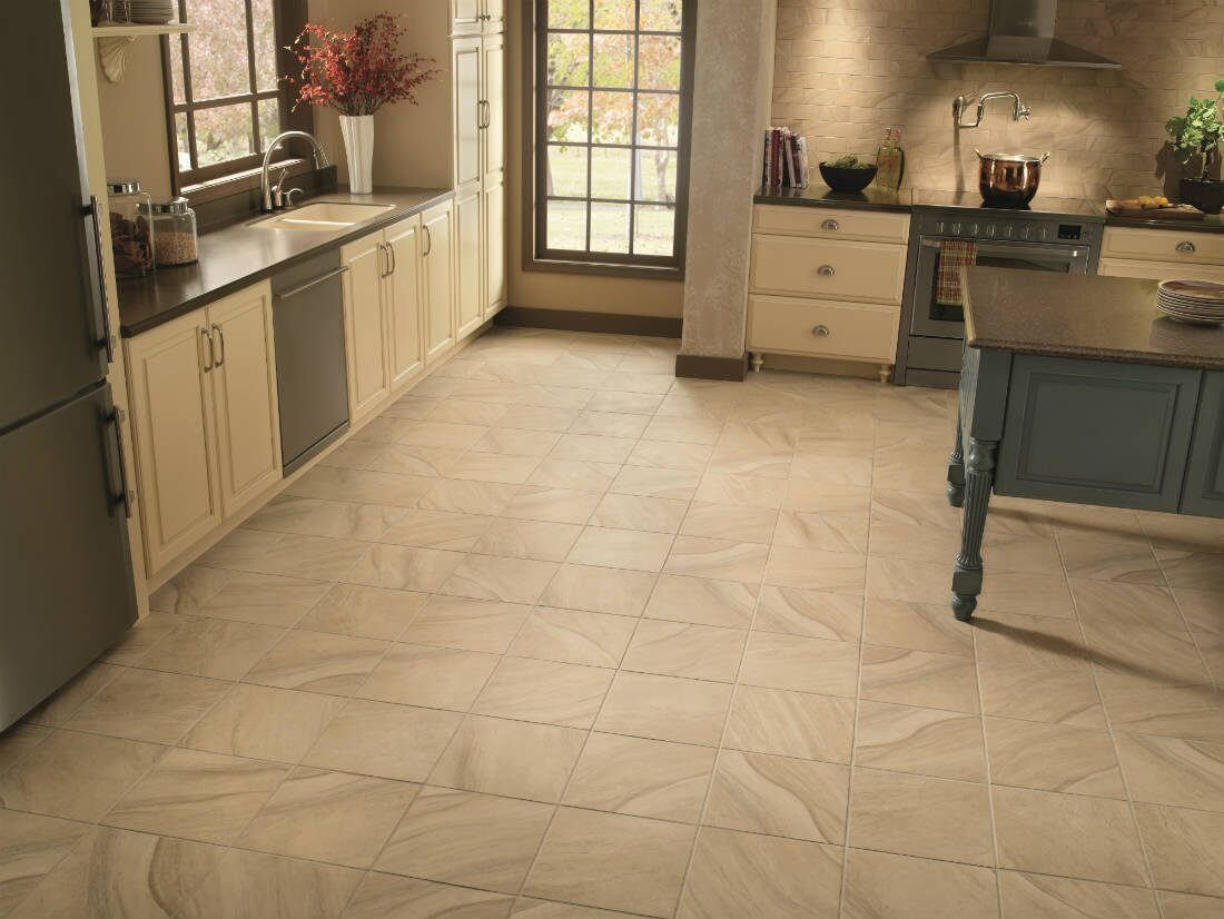 Kitchen with stone-look tile flooring