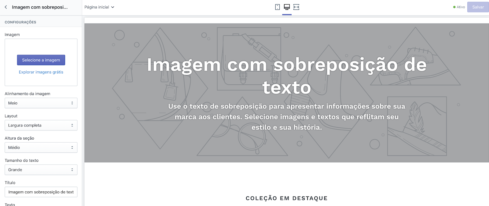 Tela do gerenciador de layout no admin da Shopify.