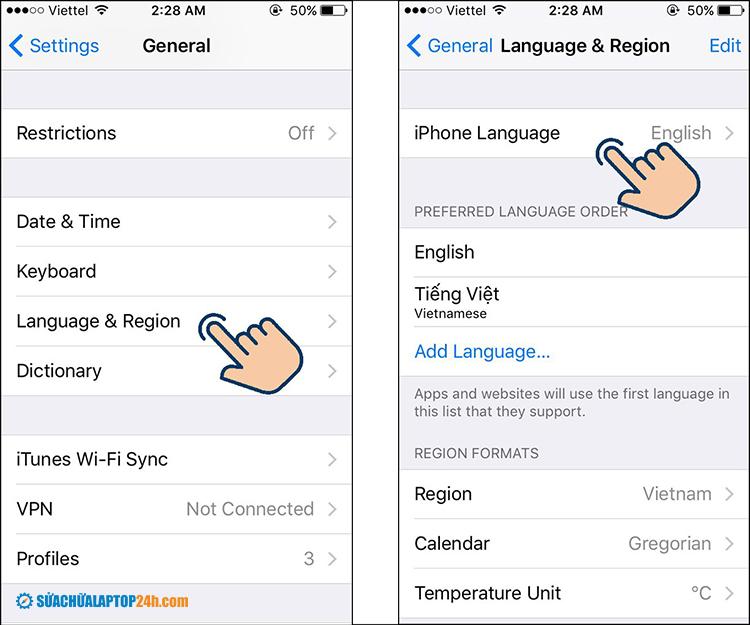 Click iPhone Language