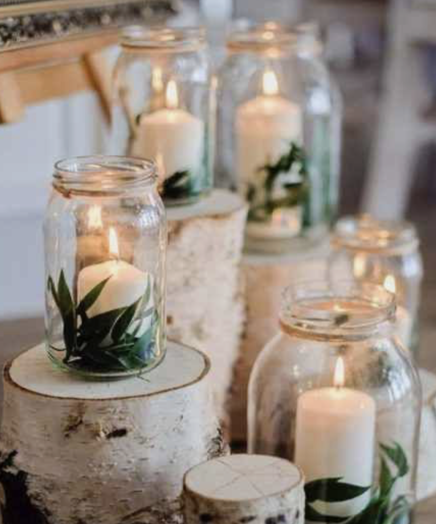 DIY candles in mason jars wedding table decorations