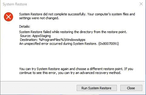 System Restore encountered error, unknown error, unexpected error