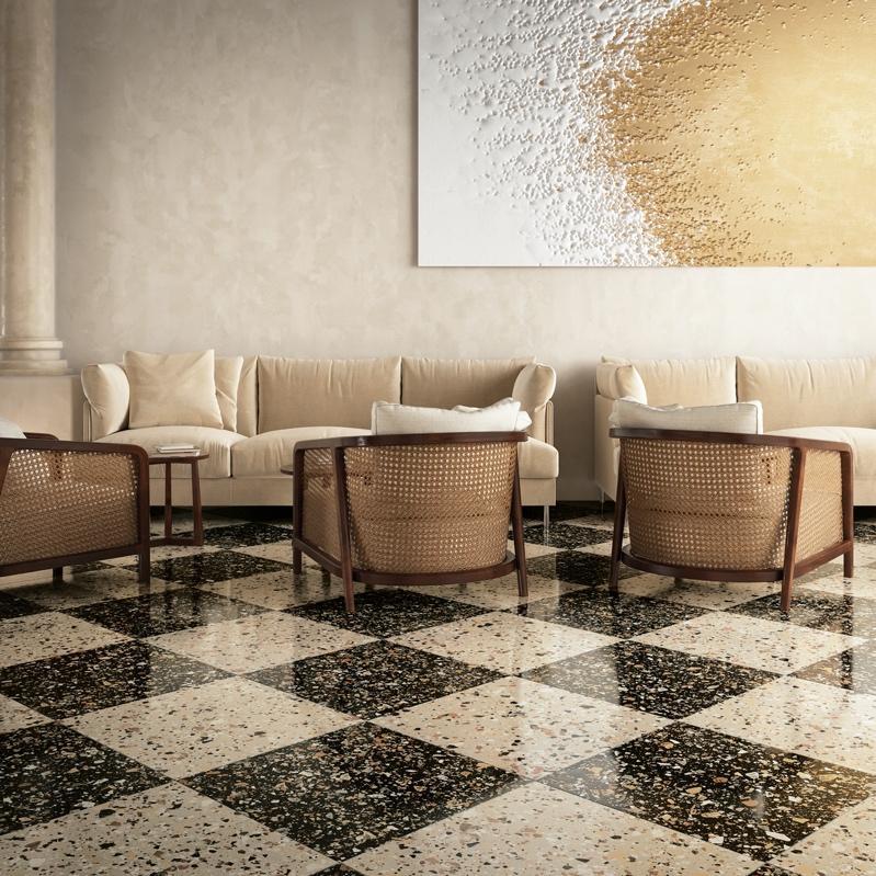 Terrazzo-look checkerboard tile