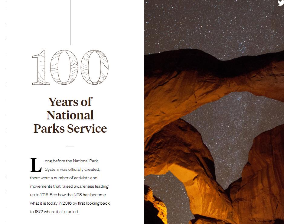 Screenshot of  National Parks Service website.